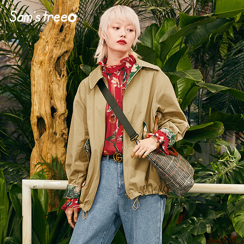 Women Safari Style Jackets Vintage Printing Two Wear Female Basic Loose Outerwear Pockets Female Short Coats