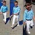 Meninos Roupas-Camisa de Manga Comprida Xadrez Branco Calças 3 pcs Bebê T-Shirt de Manga Comprida + Calças + Cinto Conjunto crianças Outfits Casual Feb06