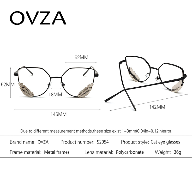 OVZA Brand Designer Fashion Wings Optical Frame Women Metal Glasses ...