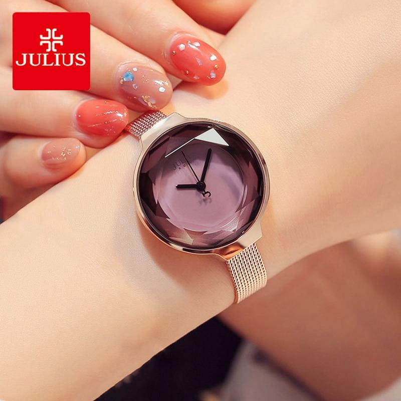 Julius Lady Luxury Stainless Steel Mesh Belt Watch Women Simple Multifaceted Cutting Mirror Quartz Bracelet Wristwatches Clock