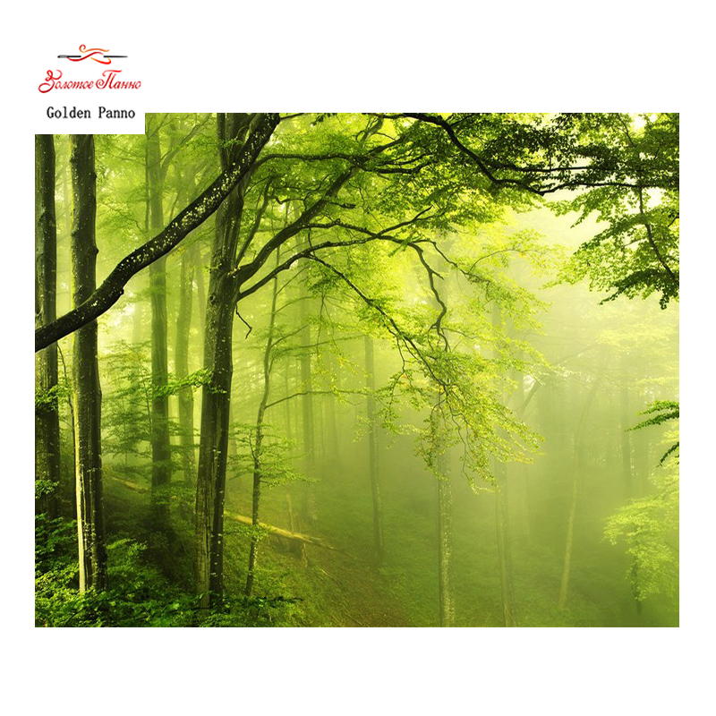 Golden Panno Needlework DIY DMC 14CT Cross stitch Kit Green Forest Counted Pattern Embroidery Cross stitch