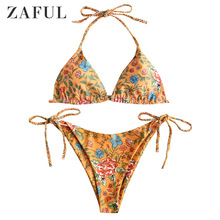 ZAFUL Sell Plant Print Braided String Bikini Set Women Sexy Bathing Suit Beach Brazilian Swimsuit Halter Bandage Swimwear