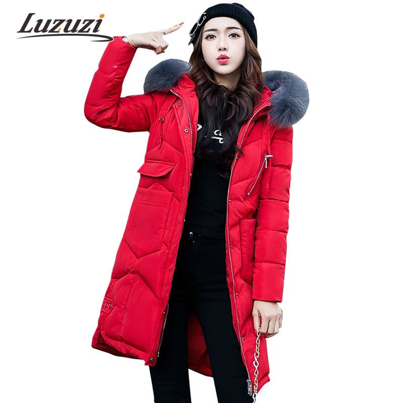 2017 New Female Winter Jackets and Coats Hooded with Big Fake Fur Collar Women Warm Thick Parkas Down Cotton Long Outwear W1000 high grade big fur collar down cotton winter jacket women hooded coats slim mrs parkas thick long overcoat 2017 casual jackets