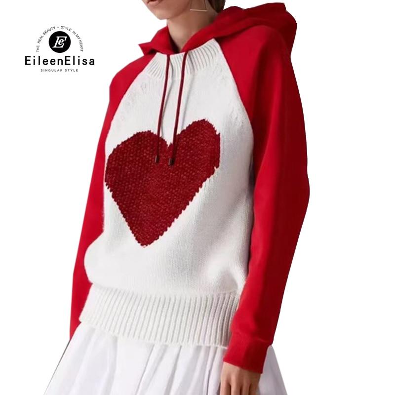Для женщин толстовки 2018 осень Зимние толстовки пуловер с капюшоном рукав реглан красный любовь толстовка