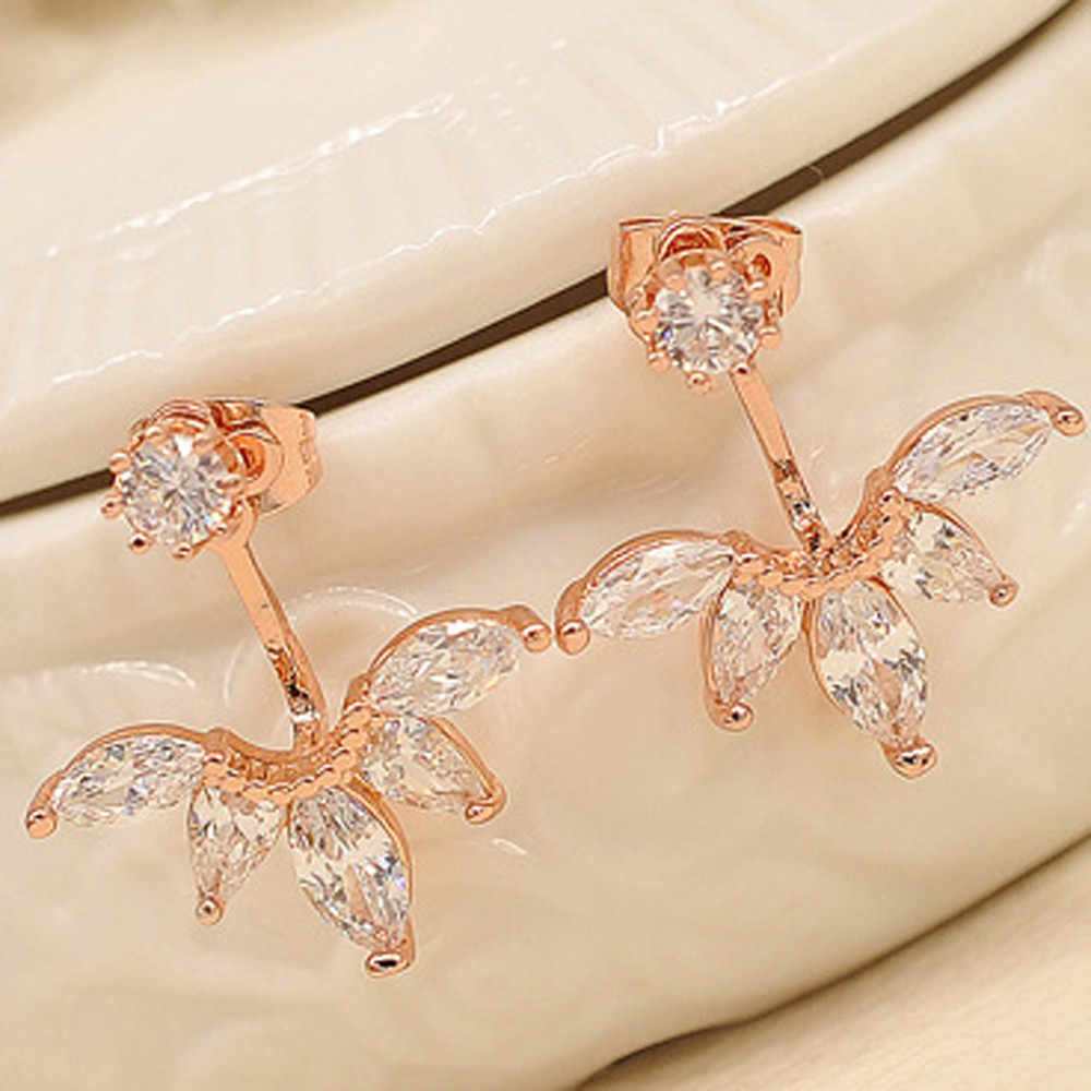 1Pair Fashion earrings for women Crystal Rhinestone Ear Flower Earrings Jewelry aretes de mujer