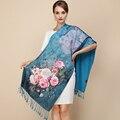 100% Silk 2016 Maisun New Style Shawl Brand Tartan Design Silk Scarf 190x52cm Big Size Hijab Fashion Silk Scarves For Women LR