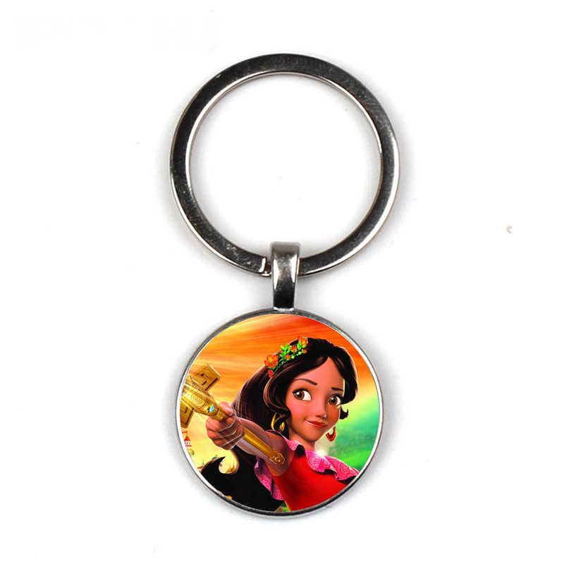 Elena of Avalor Keychain Art Latam Princess Elena Key chain Glass Round Keychain Fashion Bag Car Key chain Ring Holder Charms
