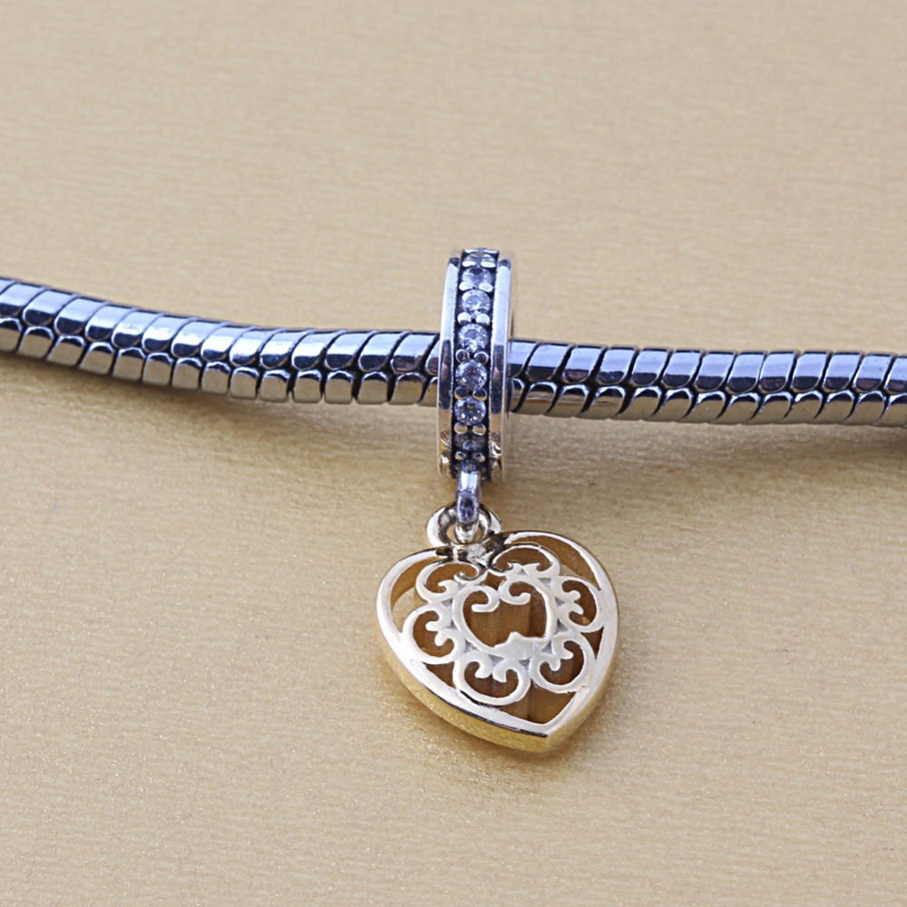 ZMZY Original 925 Sterling Silver Charm Heart Pendants Gold Color and Clear CZ Beads For Pandora Charms Bracelets Accessories
