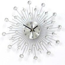 Geekcook Home Decorative Wrought Iron Diamond Wall Clock Fashion Creative Sun Quiet Quartz Clock For Living