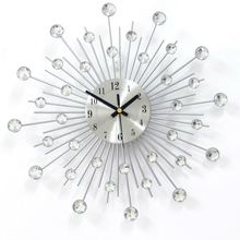 Geekcook Home Decorative Wrought Iron Diamond Wall Clock Fashion Creative Sun Quiet Quartz Clock For Living Room Bedroom