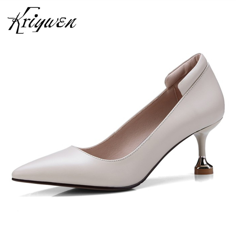 2018 New Arrival Woman Shoes Genuine Leather Sapato Feminino Stilettos Cow High Heeled Woman Chaussures Femmes Plus Size 33-41 sapato feminino dames schoenen the new 2017 national wind woman of genuine shoes lvkong high restoring ancient ways with 5690