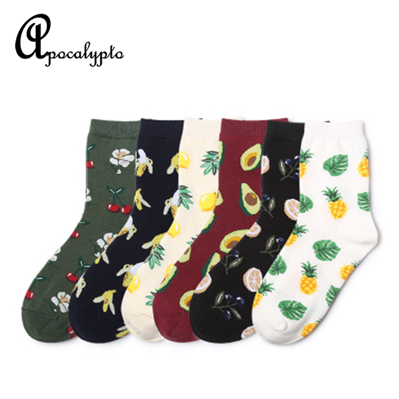 Korean style women short socks Fruits patterned funny socks harajuku skarpetki cute socks with print hip hop socks for children in Socks from Underwear Sleepwears