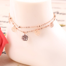 Rose Gold Flower Crystal Chain Ankle Bracelet Anklet CA008
