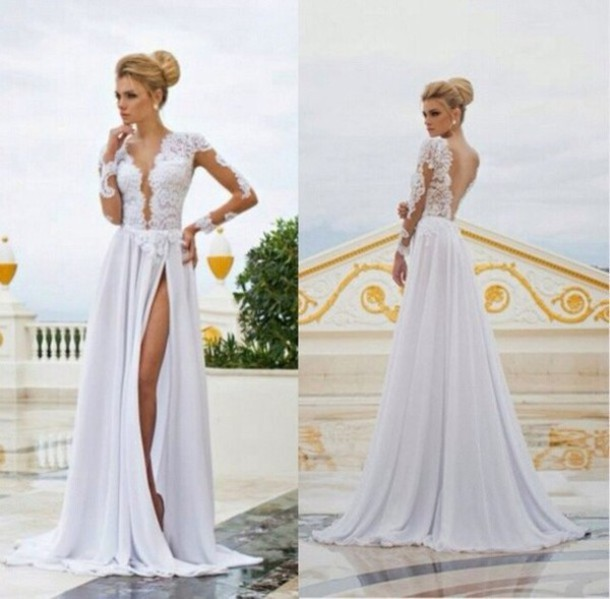 Aliexpress.com : Buy Wedding 2014 open back deep v neck seyx beach ...