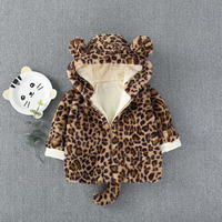 Thick Warm Faux Fur Leopard Baby Boys Jacket with Hood Toddler Girls Thermal Fleece Winter Clothes Fall Coat