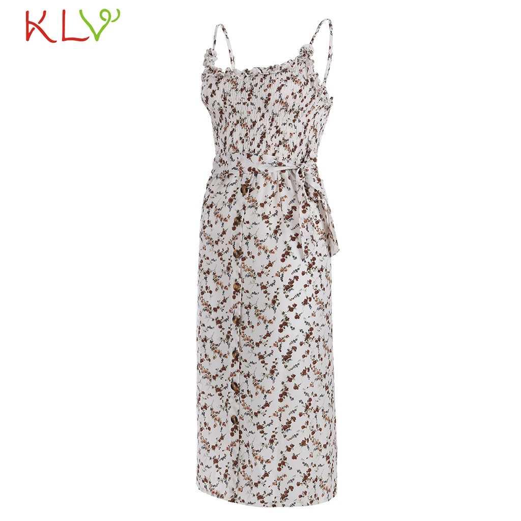 שמלת נשים Boho מקרית אלגנטי פרחוני ללא שרוולים קיץ שמלת אופנה מסיבת לילה שמלת 2019 PlusSize Vestidos Robe Femme 19A22