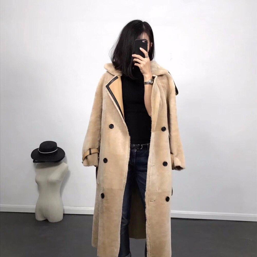 2018 Donne Reali della pelle di Pecora Cappotto di Pelliccia di grandi dimensioni di Modo di Inverno Caldo Genuino pelle di Pecora Merino Giacca di Pelle lungo di lunghezza di pelliccia di agnello cappotti