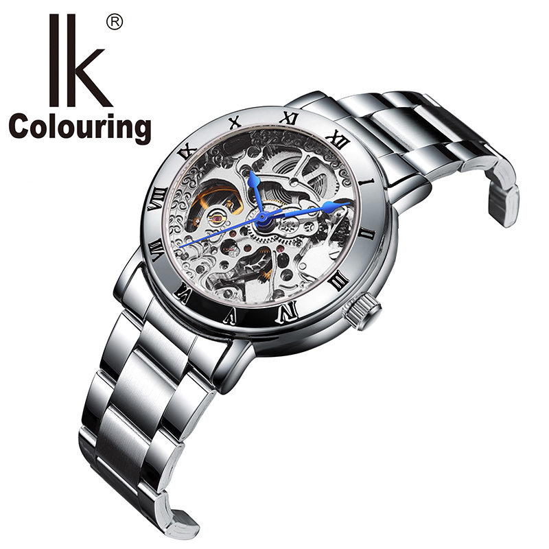 IK Colouring Ladies Display Women Watch Top Brand Luxury Simple Skeleton Transparent Case Automatic Mechanical Watches Women