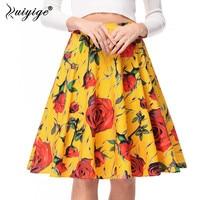 2017 New Arrival Audrey Hepburn Style Women Tutu Skirt High Waist Print Floral Pleated Midi Skirts