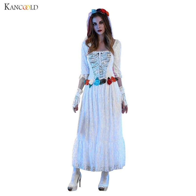 Nouveau femmes Sexy dentelle blanche cadavre robe de mariée Halloween Cosplay thème fête Costume robe + voile + gants ensemble Halloween Costume SE083