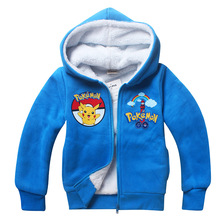 2016 Boys girls Pokemon costume winter jackets faux fur coats kids hooded outwear hip hop new design Size For 5 6 7 8 9 years