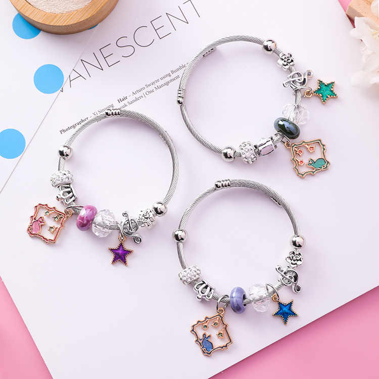 Japan and Korea Style DIY Stainless Steel Adjustable Rabbit Square Bracelet Ethnic Crystal Beads Star Bangle for Women Jewelry