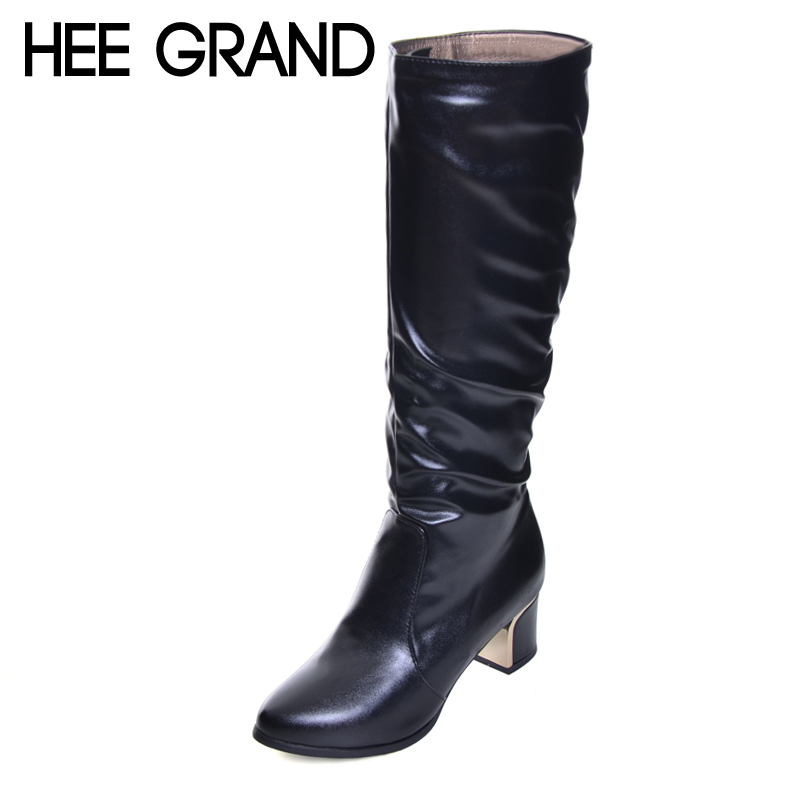 Hee Grand/Для женщин Модные высокие сапоги Ботинки с высокими коленями толстые Обувь на среднем каблуке женские слипоны на Матери Повседневные ...