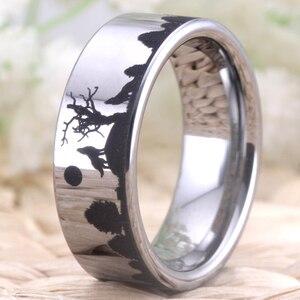 Image 2 - Wolf Design Ringe Für Frauen Männer Wedding Band Ring 8mm Wolfram Ring Partei Schmuck Engagement Ring Mit Ring box Drop Schiff