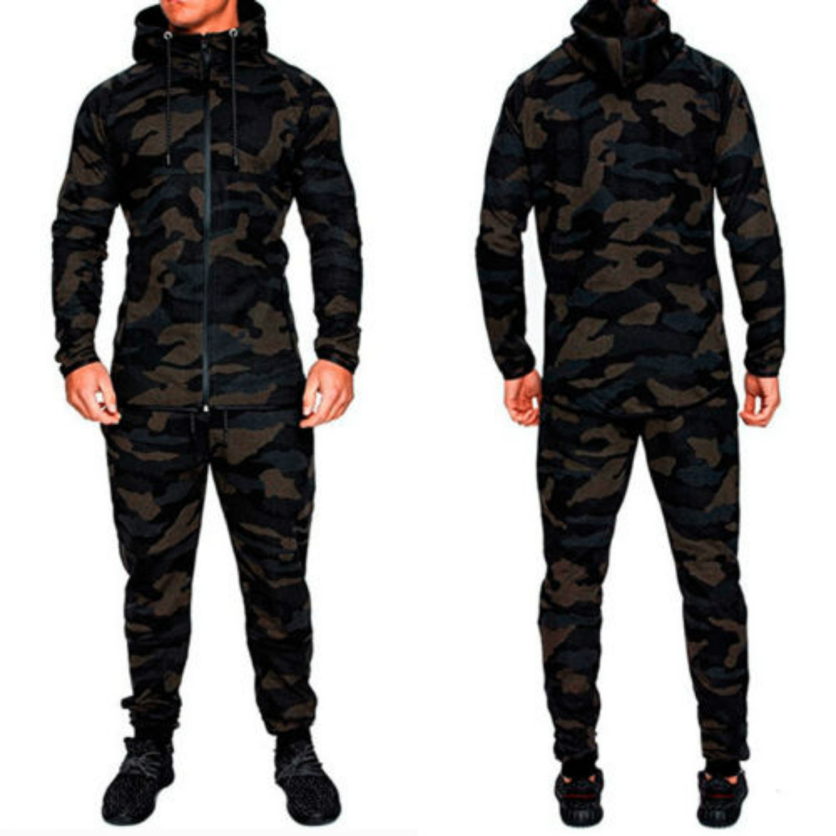 Men Clothes 2018 New Brand  Mens Camouflage Tracksuit Zip Bottoms Tops Long Sleeve Autumn Casual  Hoddies+Pants