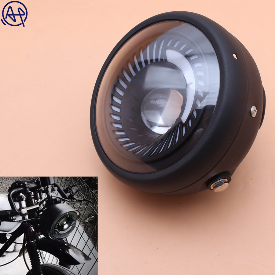 1pcs Black Motorcycle Black Metal Projector LED Front Headlight With Angel Eye DRL For CG125 GN125 Cafe Racer Bobber Custom