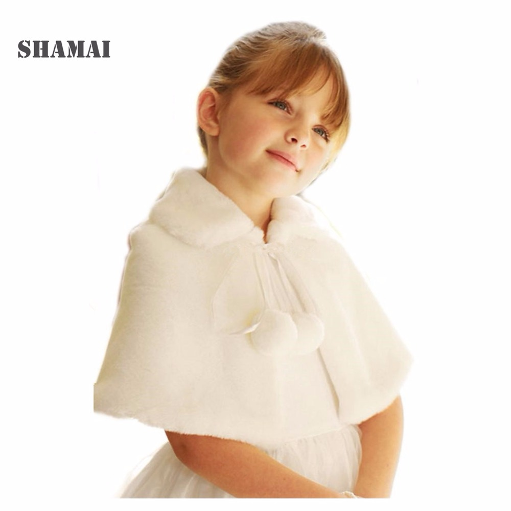 SHAMAI In Stock Ivory White Wedding Party Flower Girl Faux Fur Stole Wraps Cape Black Red Kids Fall Winter Shrug Jackets