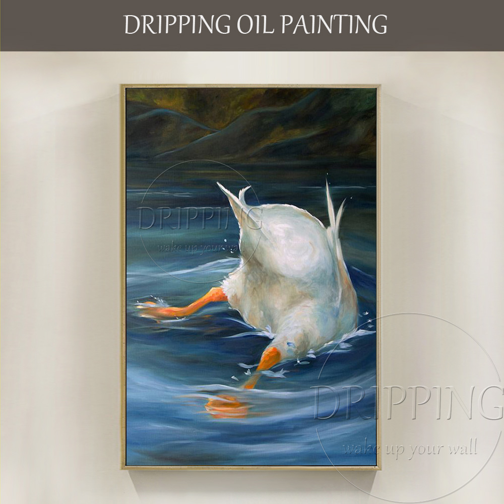 Funny Design Artist Hand Painted Diving Duck Fishing Oil