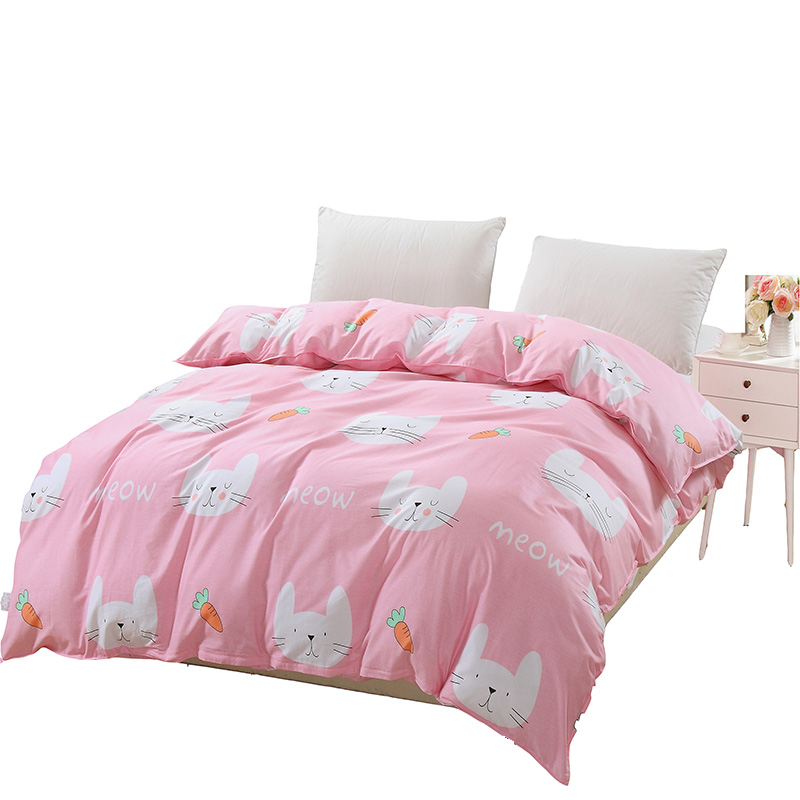 White cat on Pink Duvet Cover 1pc Quilt Cover with Zipper Home Bed 100%Cotton Material Twin Full Queen king single bedclothe