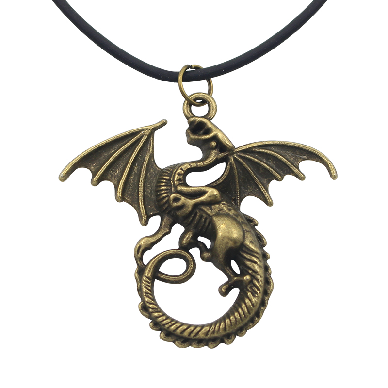 New Fashion Hot Film Ice And Fire Song Rights Game Necklaces Bronze Wings Dragon Monster Necklace & Pendant ...
