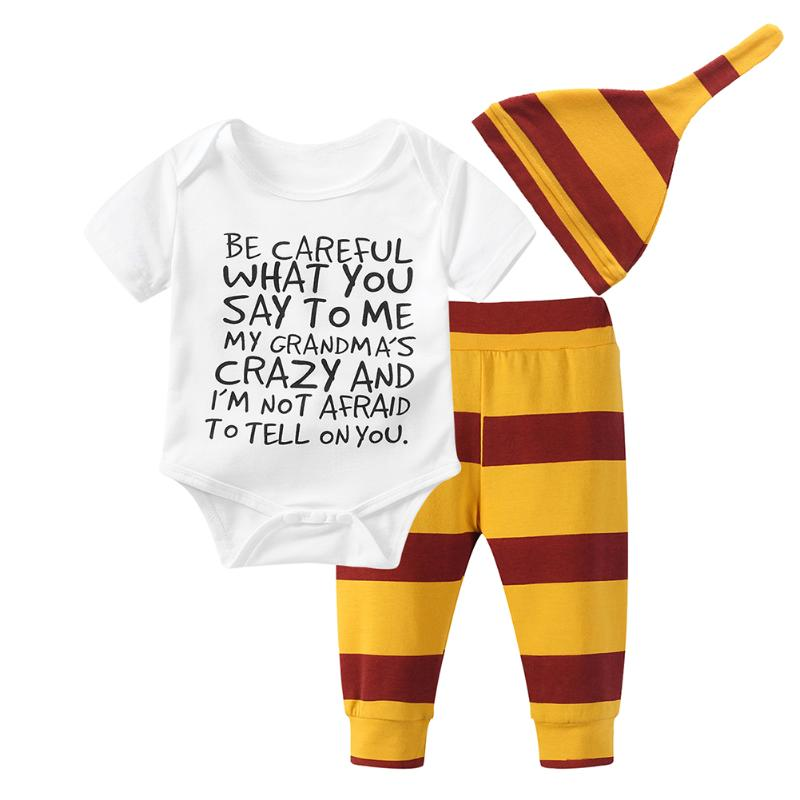 3PCS Baby Clothing Set Newborn Baby Boys Girls Letter Bodysuit Tshirt+Stripe Pants+Hat Outfits Clothes 0-18M