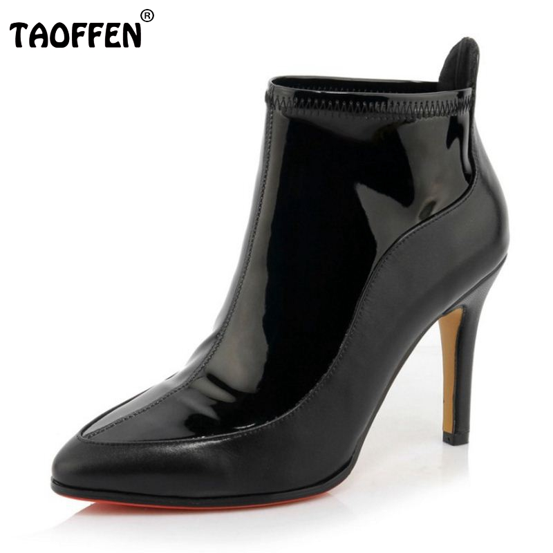 ФОТО Woman Fashion Genuine Leather Boots Women Pointed Toe Thin High Heel Shoes Sexy Half Short Footwear Shoes Size 33-40