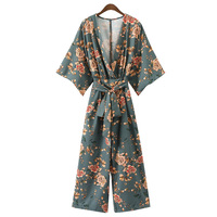 JOYINPARTY vintage floral V neck jumpsuits wide leg pants sashes backless pleated fashion rompers summer casual playsuits