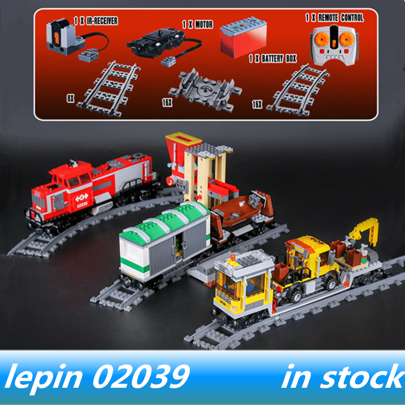 LEPIN 02039 City Series lepin technic Red Cargo Train Set Building Blocks legoing Cargo Train legoing technic 3677 with motor
