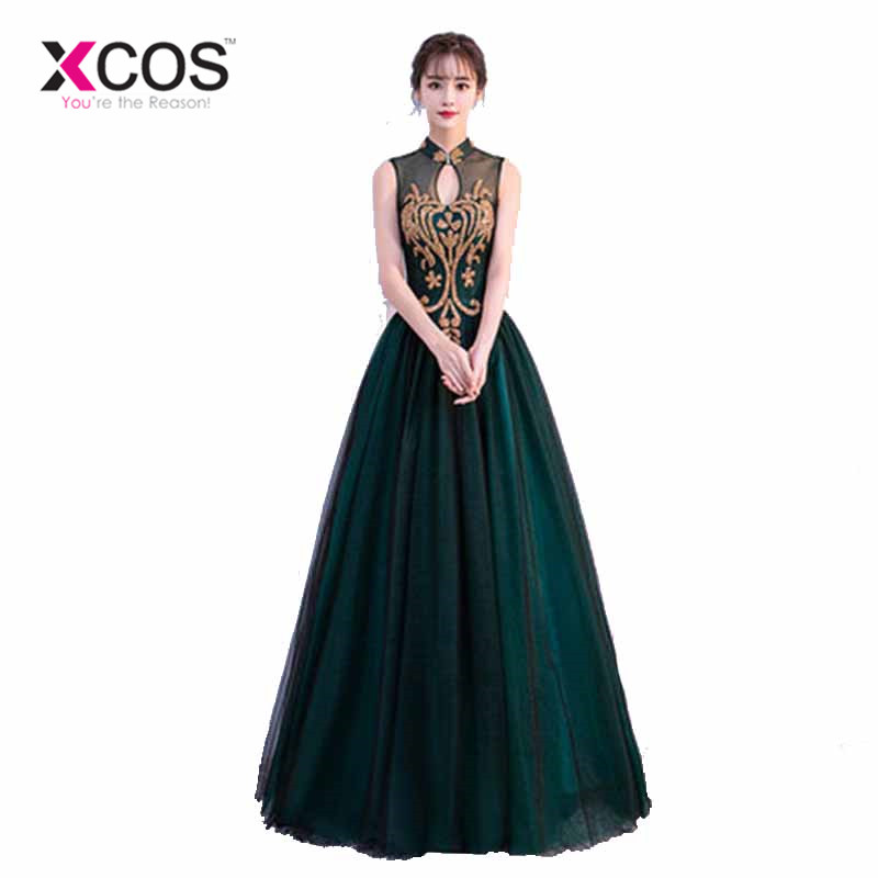 Xcos Dark Green Vestidos Plus Size Formal Evening Dresses Lace Long