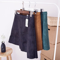 Autumn Winter Women Suede High Waist Fashion Above knee Sexy Skirt Ladies Short A line Suede Skirt Women Winter Skirt TT282