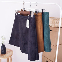 Autumn Winter Women Suede High Waist Fashion Above-knee Sexy Skirt Ladies Short A-line Suede Skirt Women Winter Skirt TT282