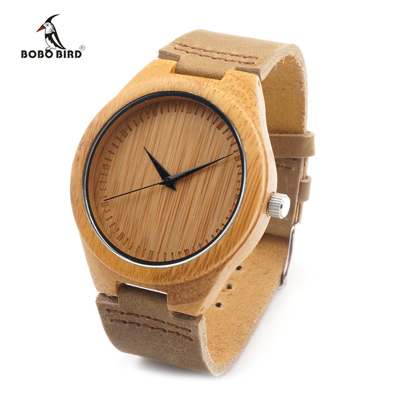 BOBO BIRD Brand Bamboo Watches Men Japan 35 Move' Wooden Wrist Watch with Genuine Leather Band as Gifts for Friends C-F18 5