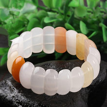 Authentic natural Xinjiang stone bracelet exquisite hand row hand string men and women jewelry JADES jewelry(China)