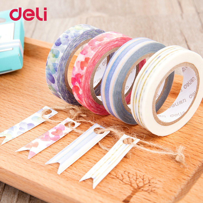 Deli 4 pcs DIY Paper Decorative Adhesive Tapes cute Flolwer Washi Tape Masking Tape Stickers Size 10mm*10m office stationery 1pc black and white grid washi tape japanese paper diy planner masking tape adhesive tapes stickers decorative stationery tapes