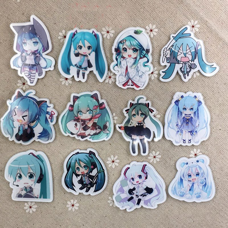 Japan Cartoon Hatsune Miku Acrylic Badges Set Irregular Miku Cute Brooch Pins Backpack Clothes Decoration Brooches