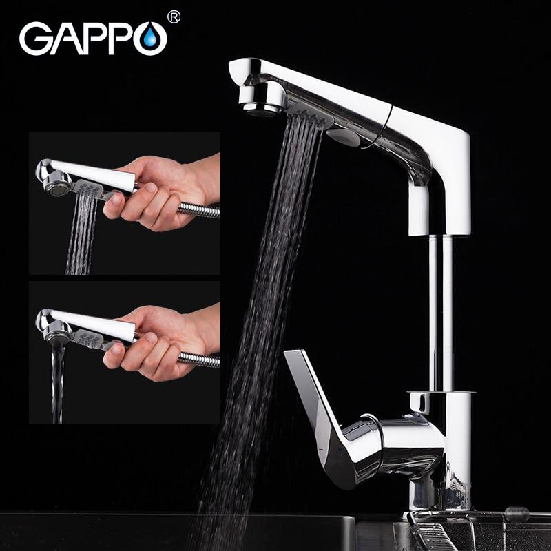GAPPO pull out pirinç mutfak musluk su musluk bataryası mutfak musluk su mikser vinç krom torneira cozinha