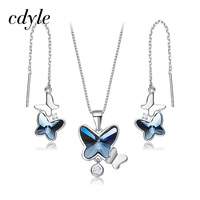Cdyle 925 Sterling Silver Butterfly Jewelry Set For Women Pendant Necklaces Embellished with crystals from Swarovski