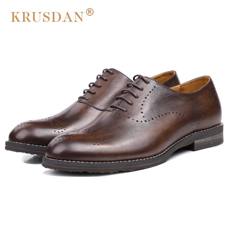 KRUSDAN Luxury Brand Handmade Man Derby Formal Dress Shoes Genuine Leather Breathable Oxfords Round Toe Lace up Men's Flats OQ96  ruimosi new arrival formal man bridal dress flats shoes genuine leather male oxfords brand round toe derby men s footwear vk94