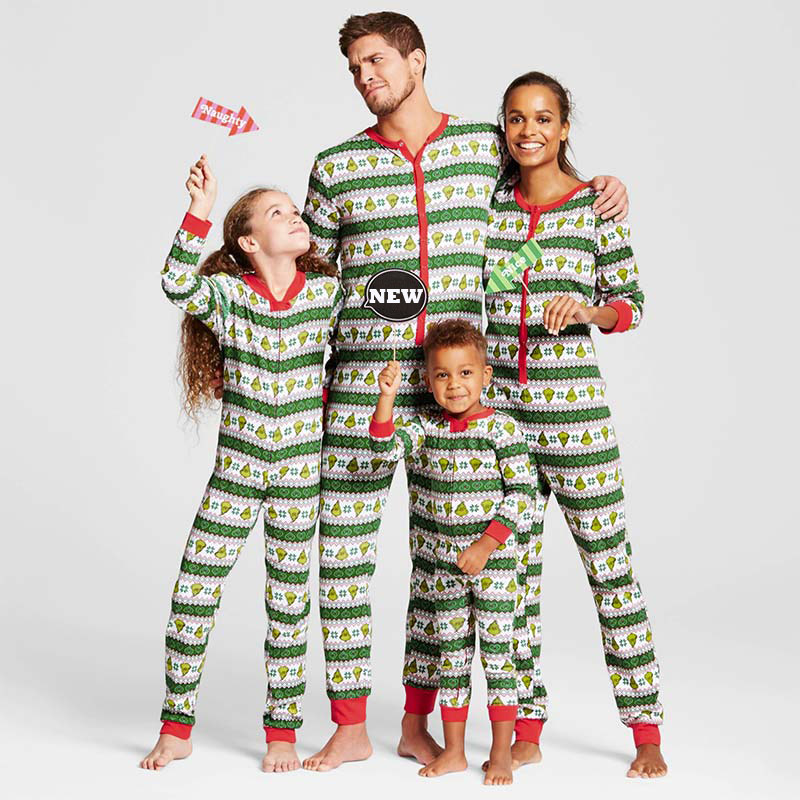 New 2017 Christmas Striped Family Matching Christmas Pajamas Set Women Kid Adult PJs Sleepwear Nightwear