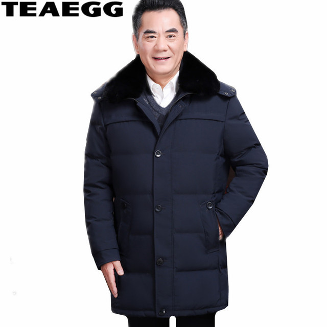 bb5a7de293a TEAEGG Plus Size 4XL Hat Detachable Men Winter Jacket Duck Down Coat Faux  Fox Fur Collar Mens Down Jacket Parka Outwear AL407